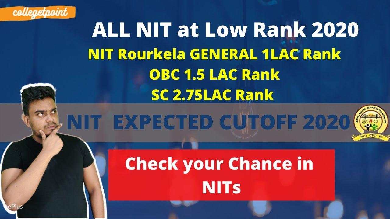 NIT at low JEE Main Rank 2020   Get NITs UPTO 1lac Rank