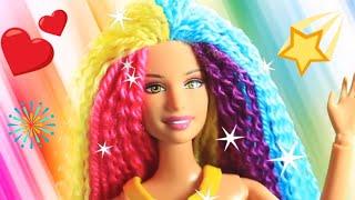 Barbie Hair 💇 Barbie Hairstyle Tutorial 😱 Barbie Hair Color Transformation  - Barbie Rainbow Hair