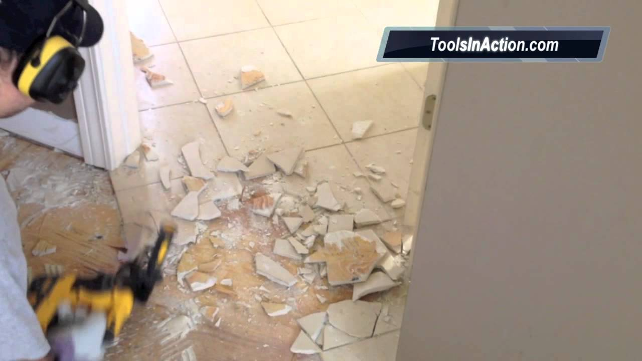 how to demo a tile floor with a dewalt dch213l2 sds hammer drill