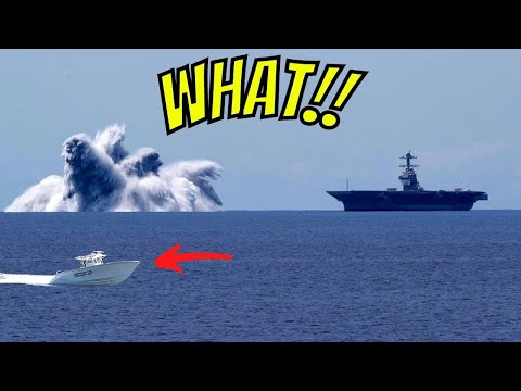 FISHING 100 Miles Offshore NEAR A HUGE US NAVY AIRCRAFT CARRIER-  THEY WERE TESTING A 40,000lb BOMB!