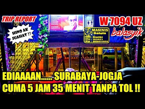 TRIP - SERASA TERBANG NAIK BIS INI !!! SBY-JOGJA CUMA 5 JAM LEBIH TANPA TOL,  MEMANG HINO AK JUAHAAT