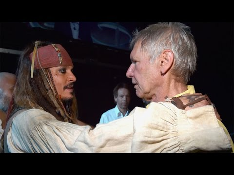 Han Solo and Jack Sparrow Meet! See Harrison Ford and Johnny Depp Hug It Out at D23