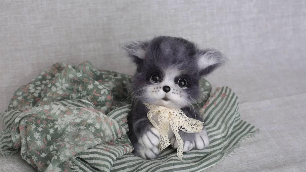 Хотите сделать пушистого серого котенка?  Мастер класс по сухому валянию.