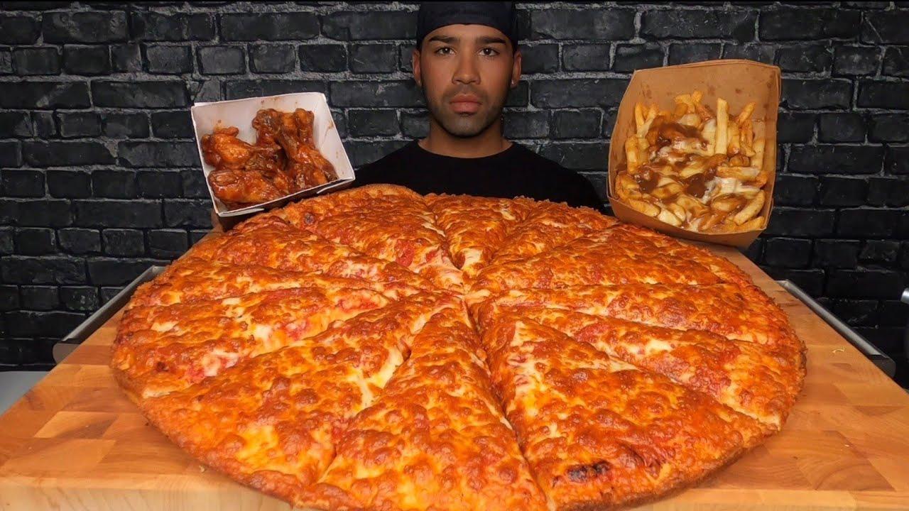 (ASMR) XL DOUBLE CHEESE PIZZA, POUTINE, WINGS MUKBANG