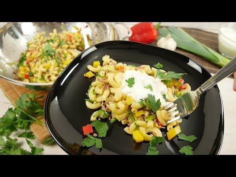 Nudel Gemüsepfanne mit Joghurtsauce / Hackfleischpfanne