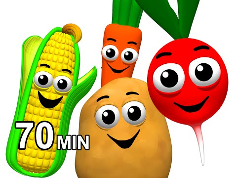 Veggie Songs & Fruit Rhymes | Learn Names of Vegetables | Kids Nursery School ESL | Busy Beavers