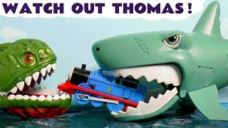 Thomas and Friends Watch Out Thomas with Spiderman Shark and Surprise Eggs Toy Trains Stories TT4U