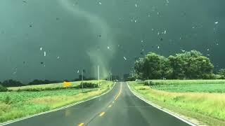 Man Drives Close to Funnel Cloud Near Valeria, Iowa