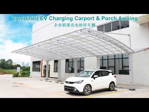Public EV Charging Station Carport Shelter - Combined Carport & Porch Awning