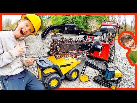 Toy Trucks Dig A Trench!