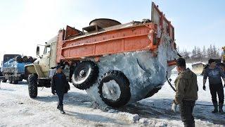 The truck got stuck.  ZIL fell through the ice and got stuck