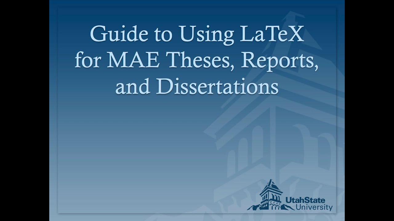 Latex tutorial thesis writing