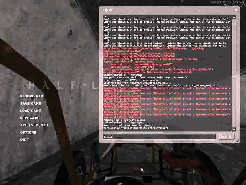 Cheats for half life 2 on PC