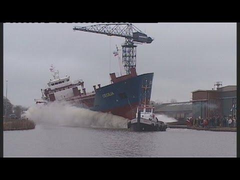 Hoogezand - Tewaterlating van de Ms. Cecilia bij Bodewes Shipyards