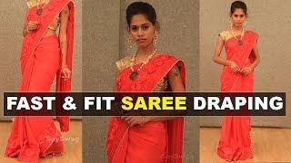 5 நிமிடத்தில் புடவை கட்டுவது எப்படி | Saree draping Tamil