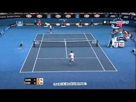 Radek Stepanek jumping funny during match vs Djokovic - Australian Open 2013