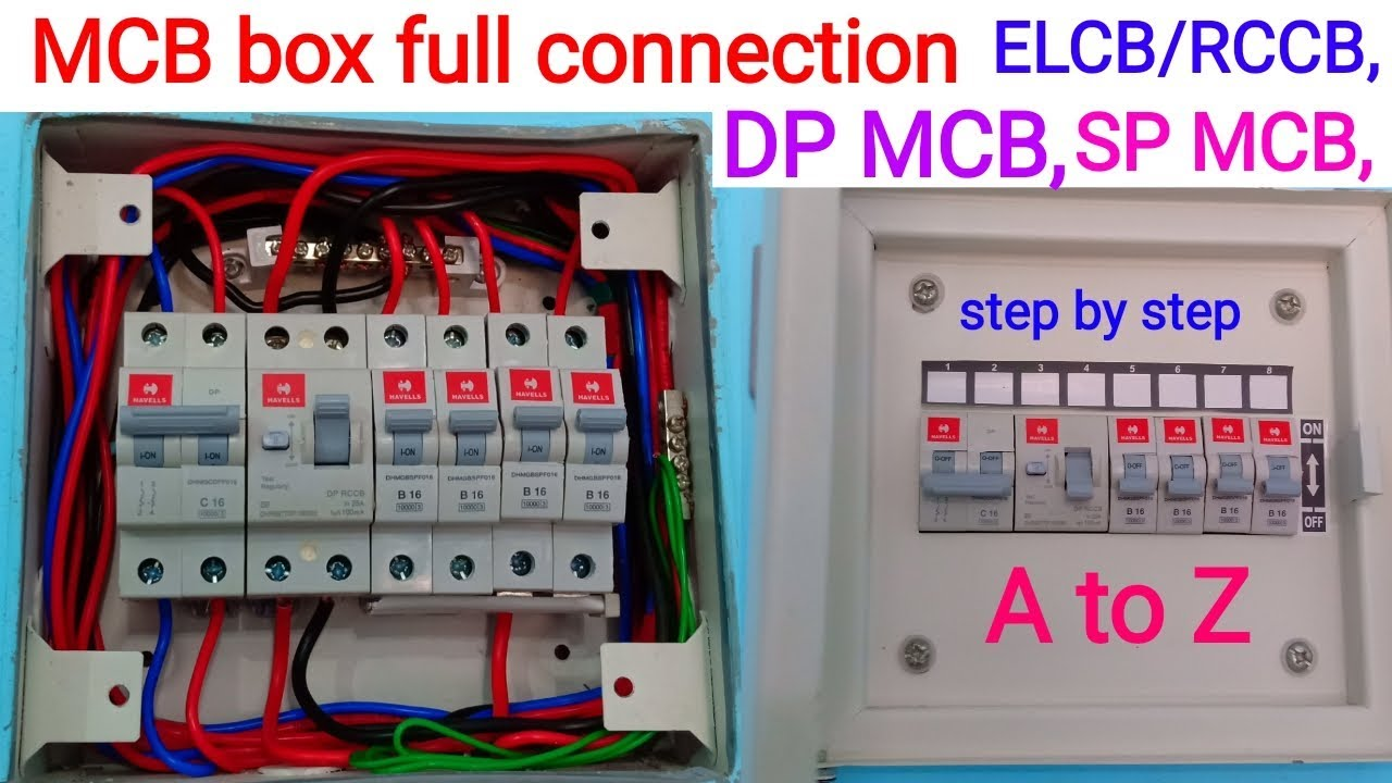 how to mcb box connection ।। distribution mcb box connection ।। elcb rccb, dp sp mcb connection elcb connection diagram tord4 63 2p 40a 10ma a ac type residual