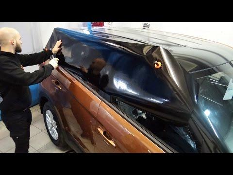 Автовинил черный, глянцевый оклейка крыши Hyundai Creta