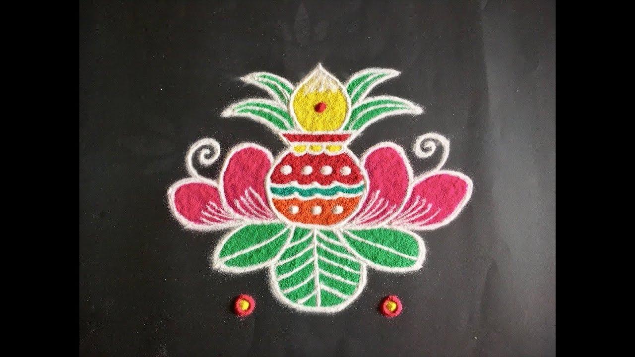 Simple Lotus Flower Rangoli Design With Beautiful Colours Dots 7x4