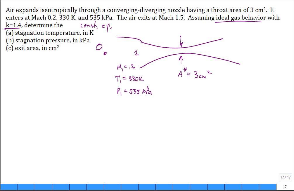 Calc Air Converging Diverging Nozzle Mach 1p5 Youtube