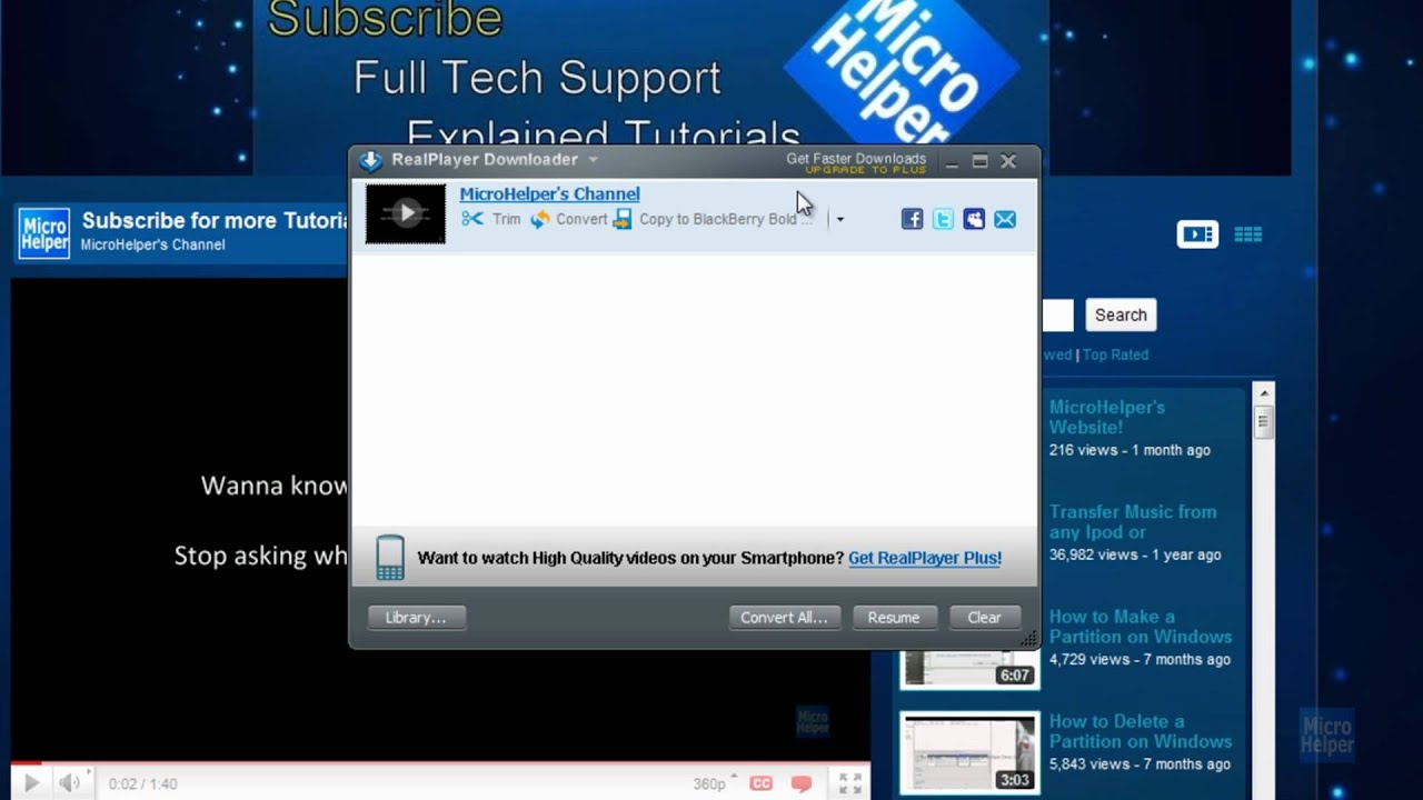 musica con realplayer da youtube