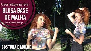 Usei máquina reta para costura blusa base de malha com manga Alana Santos Blogger