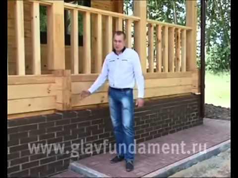 Отделка цоколя облицовочным кирпичом дома на винтовых сваях