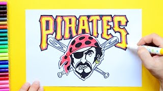How to draw and color the Pittsburgh Pirates Logo - MLB Team Series