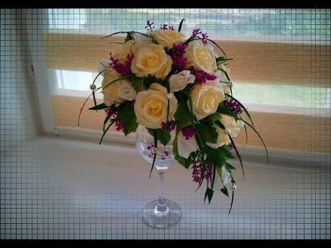 DIY/ЦВЕТОЧНЫЙ ТОПИАРИЙ НА БОКАЛЕ/цветы из бумаги/FLOWER TOPIАRE ON THE GLASS