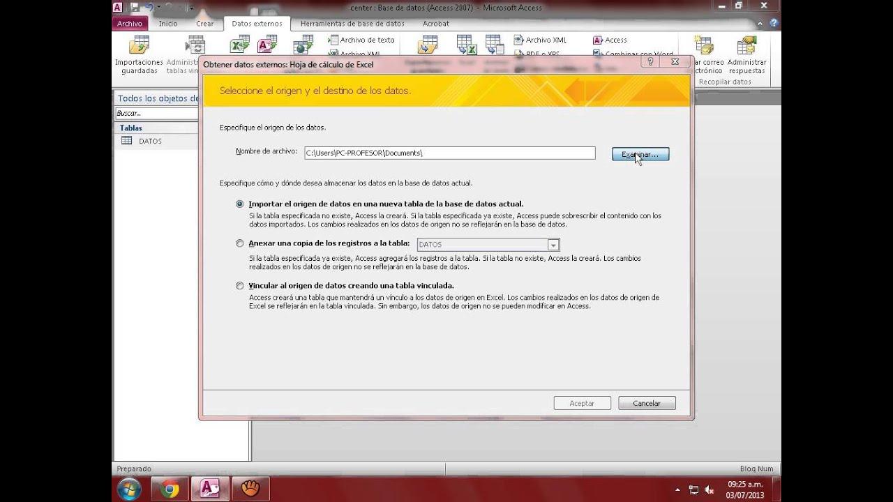 IMPORTAR UNA HOJA DE CALCULO A MICROSOFT ACCESS 2010 - YouTube