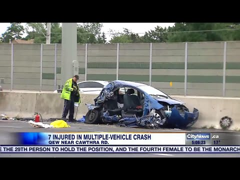 7 injured after serious crash on QEW in Mississauga