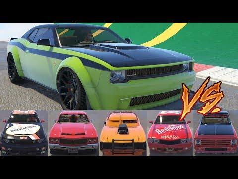GTA 5 - Top Speed Drag Race (Bravado Gauntlet Hellfire vs Top 10 Muscle Cars)