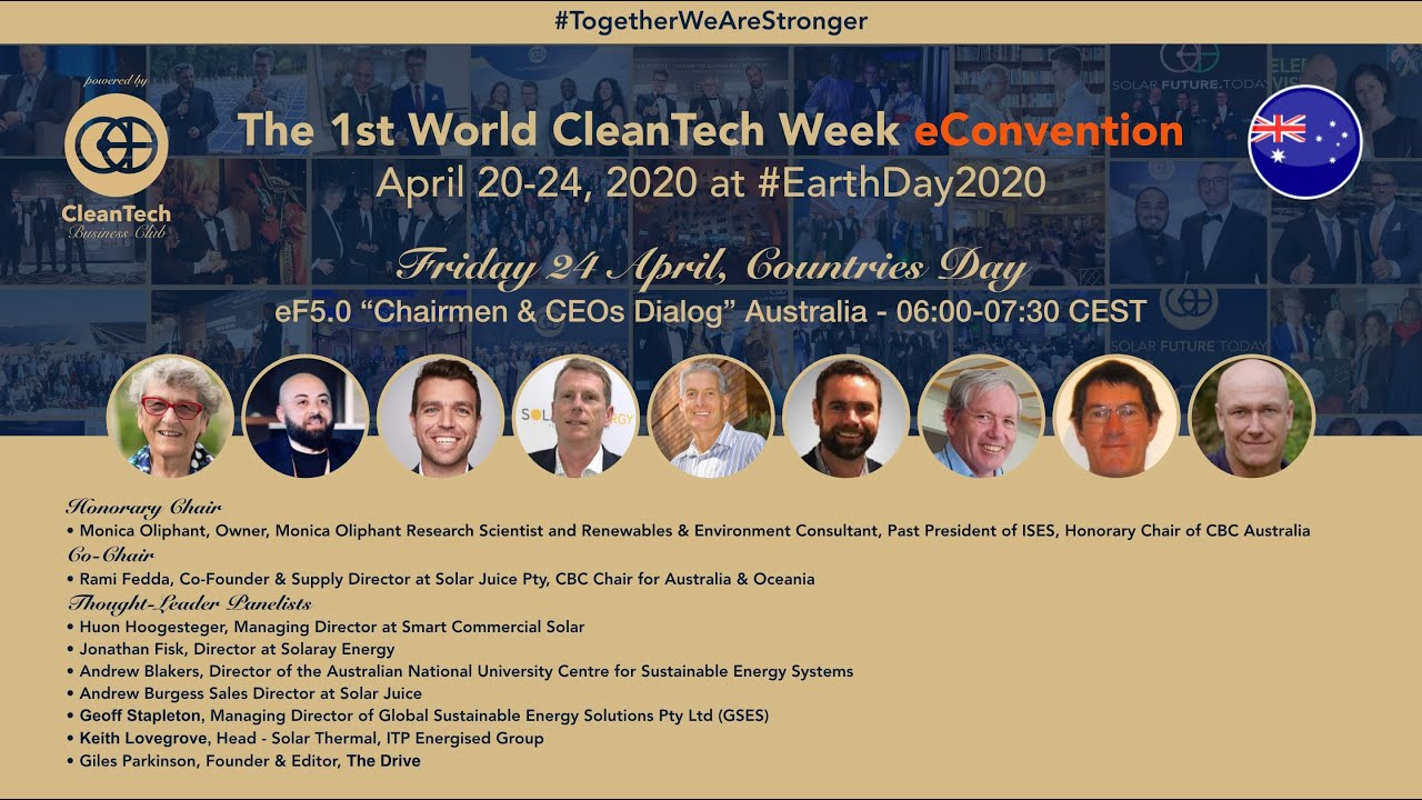 #CleanTech Chairmen & CEOs Dialog #Australia at The 1st World CleanTech Week eConvention #1stWCWeC