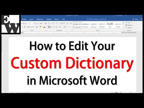 How to Edit Your Custom Dictionary in Microsoft Word - YouTube