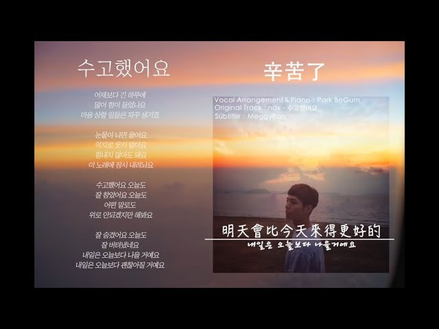 [繁中韓文] 박보검 朴寶劍 - 수고했어요 辛苦了(原唱:nov)