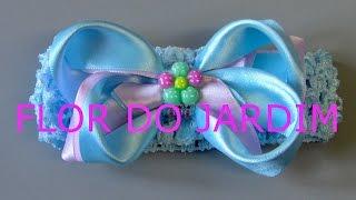 Laço de fitas com dupla cores -Ribbon bow