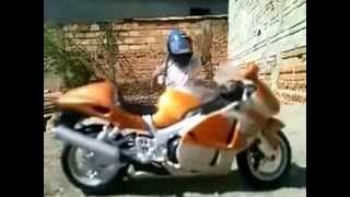 A crazy Wow....Indian kid driving an 800cc bike..