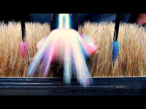 ASMR Close up Brushing an Upside down Brush - Mascara Wands, Unicorn Brushes and more (No Talking)