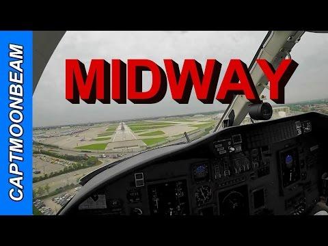 Cessna Citation Landing at Chicago Midway Airport live ATC