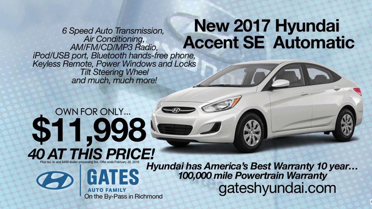 2017 Hyundai Accent SE - Gates Hyundai Richmond, KY - YouTube