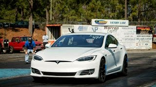 What is it like Racing a Tesla P100D at the Dragstrip vs Hellcats + Corvettes