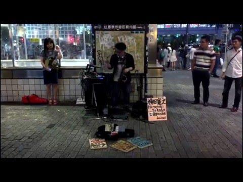 Shibuya, Tokyo, Japan   Amazing Sax Electronic Street Performance by Hiroyuki Yokota