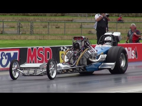 DAVE ARMSTRONG BLOWN V8 NITRO FRONT END DRAGSTER RUNS 6.69 @ 217 MPH SYDNEY DRAGWAY 3.3.2013