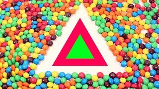 Учим Фигуры для детей. Обучающее видео. Много конфет Learn Shapes M\u0026Ms Candy Skittles Learning Video