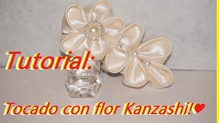 Tutorial: Tocado con flor kanzashi!♥👑[42]