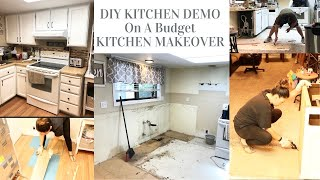 DIY KITCHEN DEMO |REMOVING KITCHEN CABINETS | SMALL KITCHEN MAKEOVER | KITCHEN REMODEL ON A BUDGET