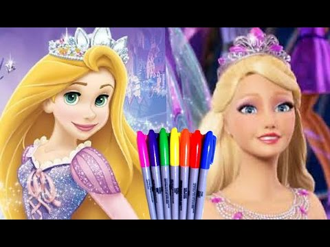 Disney Princess BARBIE And Rapunzel Ever After Coloring Pages Book Fun Art For Kids