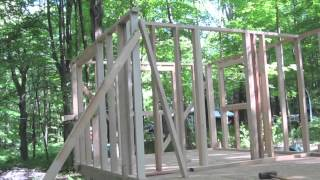 Guest Cabin - framing walls - fun with Amish lumber - 5-20-2012