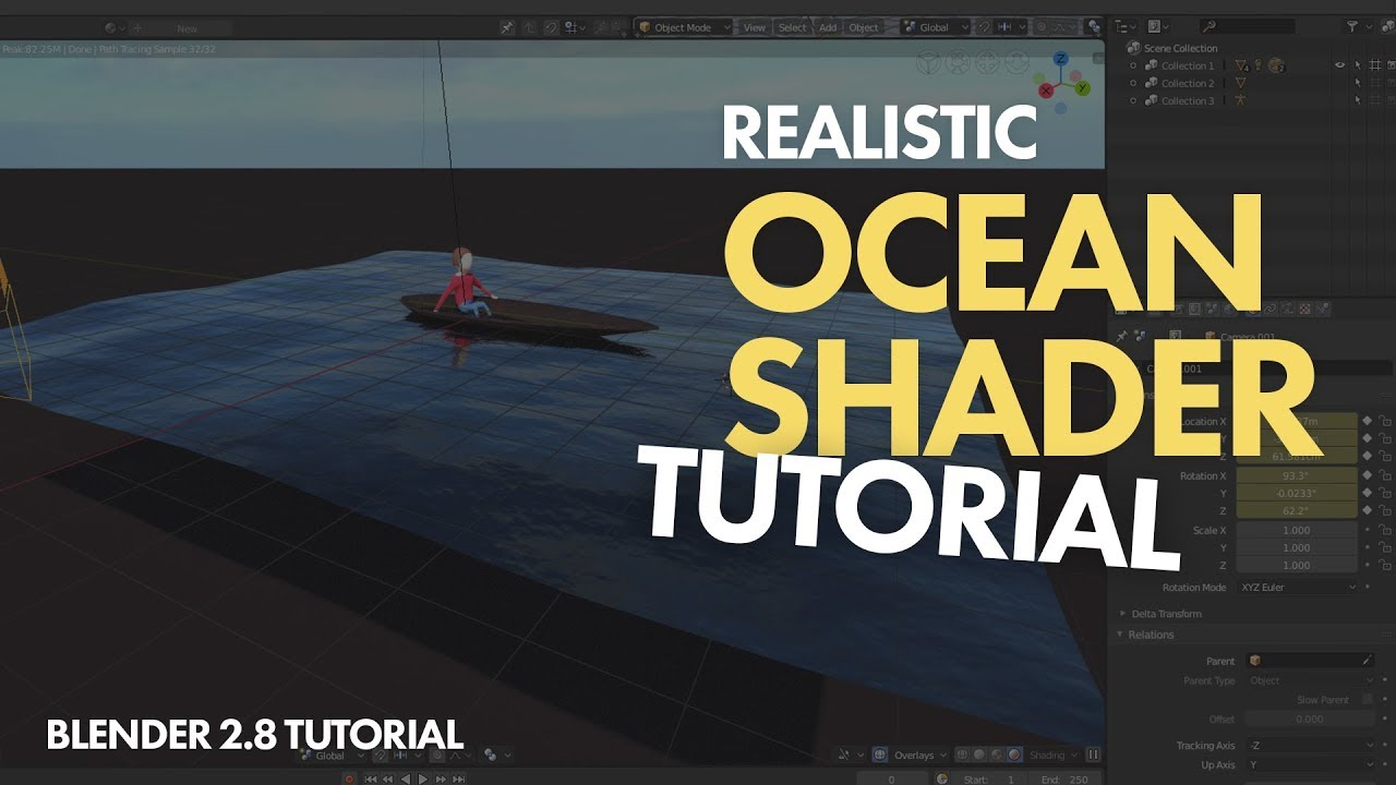 Realistic OCEAN SHADER BLENDER 2 8 TUTORIAL