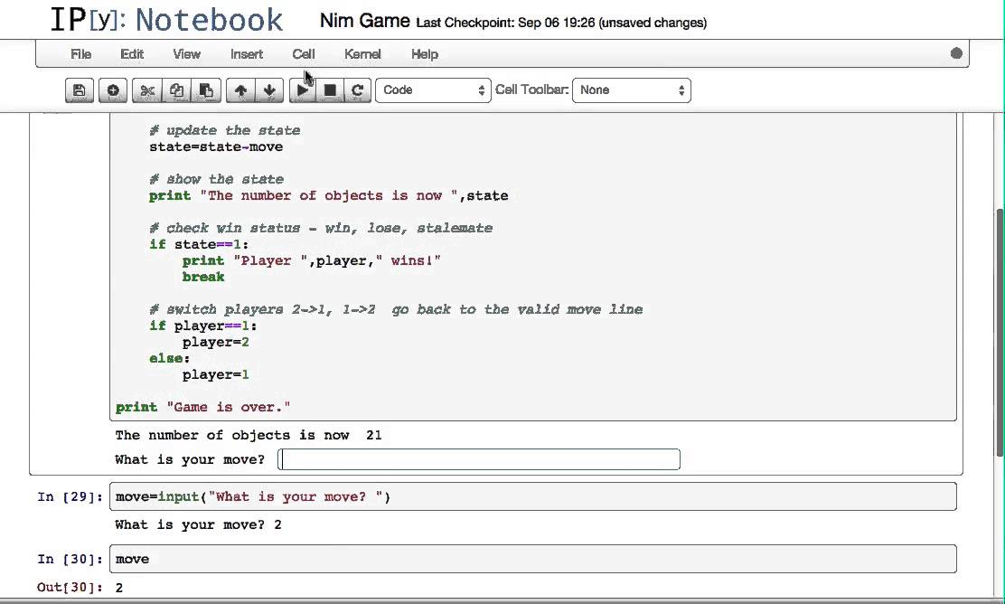 Programming the Simple Game of Nim in Python